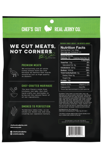 Chef's Cut Real Teriyaki Turkey Jerky Original Recipe Perspective: back