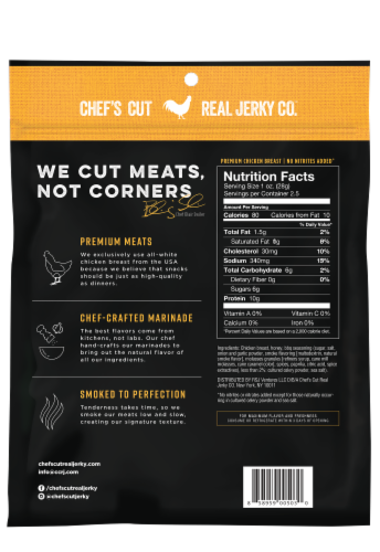 Chef's Cut Honey Barbecue Smoked Chicken Breast Jerky Perspective: back