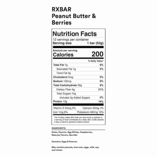RXBAR Peanut Butter & Berries Protein Bars Perspective: back