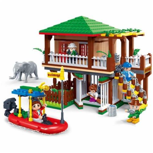 BanBao Interlocking Blocks Safari Tour Building Set (456 Pieces and 5 Mini-Figures) Perspective: back