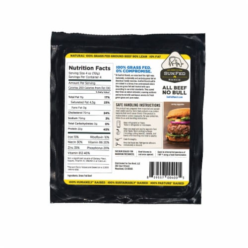 Sunfed Ranch Natural 90% Lean Ground Beef Perspective: back