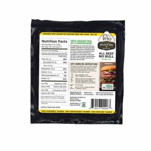 Sunfed Ranch Organic 85% Lean Ground Beef Perspective: back