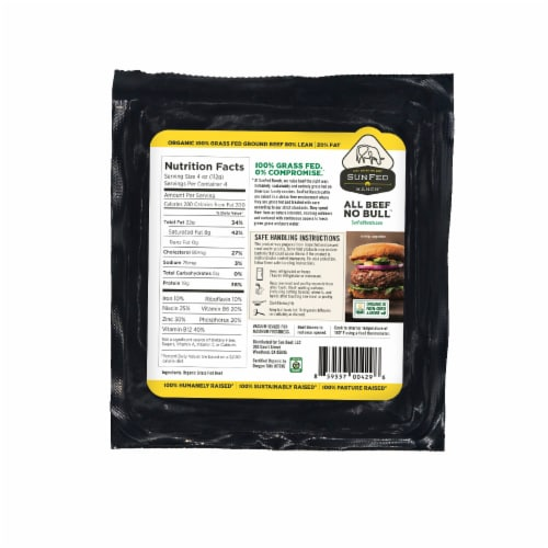 Sunfed Ranch Organic Grass Fed 80% Lean Ground Beef Perspective: back