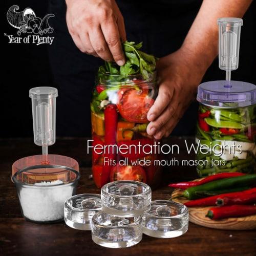 Complete Fermenting Set - 4 NonSlip Grip Fermentation Weights, 4 Clear Lids, 1 Cabbage Tamper Perspective: back