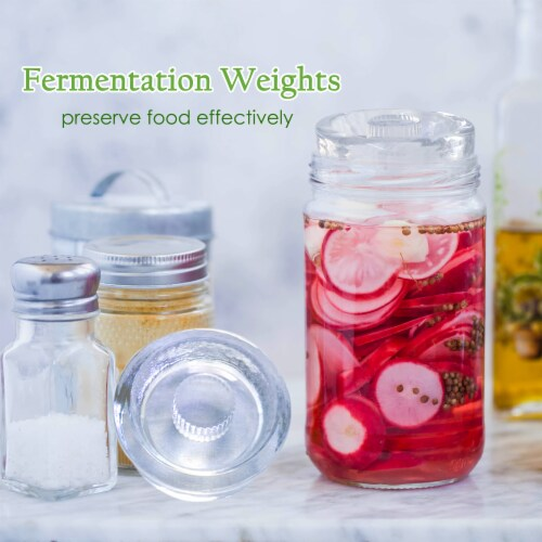 Fermentation Weights | NonSlip Grip Handle | 8-Pack for Wide Mouth Mason Jars Perspective: back