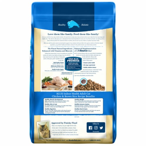 Blue Buffalo Indoor Health Chicken & Brown Rice Adult Dry Cat Food Perspective: back