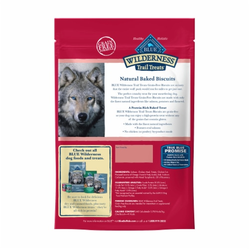 Blue Wilderness Trail Treats Salmon Recipe Grain-Free Biscuits Biscuits Dog Treats Perspective: back