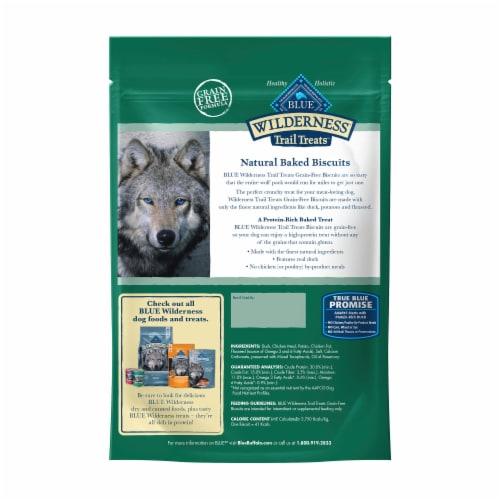 Blue Wilderness Trail Treats Duck Recipe Grain-Free Biscuit Dog Treats Perspective: back