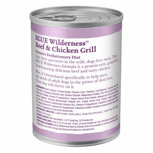 Blue Wilderness High Protein Beef & Chicken Grill Natural Adult Wet Dog Food Perspective: back