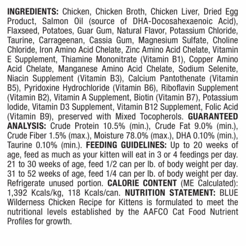 Blue Wilderness High Protein Grain Free Chicken Recipe Natural Kitten Pate Wet Cat Food Perspective: back