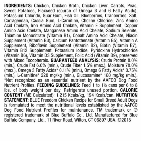 Blue Buffalo Freedom Grain-Free Chicken Recipe for Small Breeds Dog Food Perspective: back