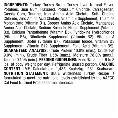 Blue Wilderness Turkey Recipe Adult Wet Cat Food Perspective: back