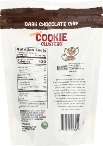 Crazy Monkey Dark Chocolate Chip Granola Cookie Clusters Perspective: back