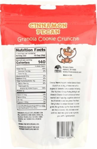 Crazy Monkey Baking Cinnamon Pecan Granola Cookie Clusters Perspective: back