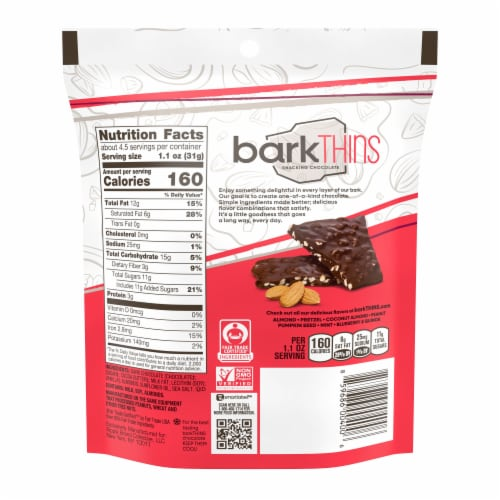 barkThins Dark Chocolate Almond with Sea Salt Bark Snacking Chocolate Perspective: back