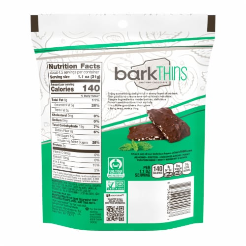 barkThins® Dark Chocolate Mint Snacking Chocolate Perspective: back