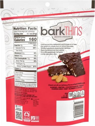 barkThins Dark Chocolate Almond & Sea Salt Snacking Chocolate Family Size Perspective: back