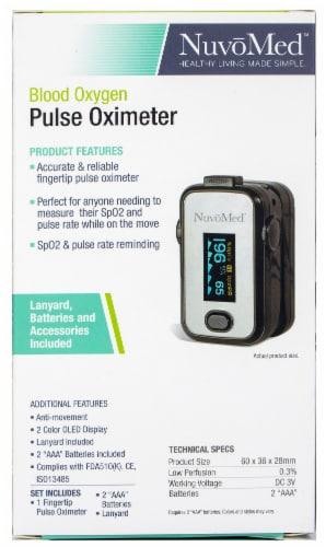 NuvoMed Fingertip Blood Oxygen Pulse Oximeter Perspective: back