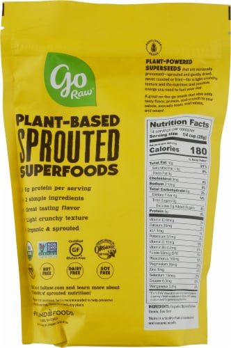 Go Raw Organic Sprouted Sea Salt Sunflower Seeds Perspective: back