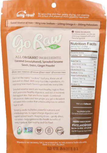 Go Raw Ginger Snaps Super Cookies Perspective: back