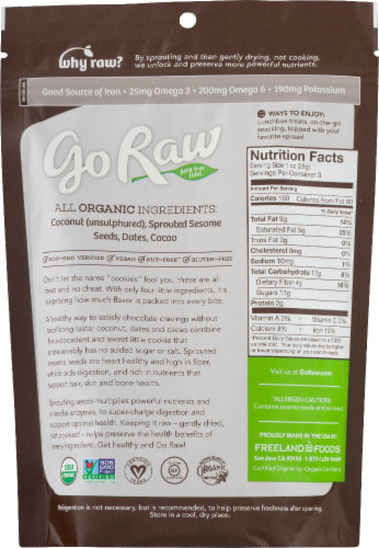 Go Raw Organic Chocolate Crunchy Cookies Perspective: back