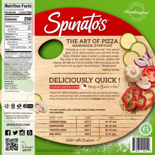 Spinato's Broccoli Crust Primavera Handcrafted Pizza Perspective: back