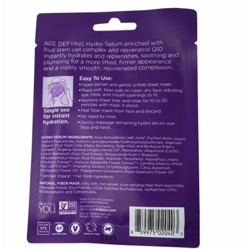Andalou Naturals Instant Lift & Firm Hydro Serum Facial Mask Perspective: back