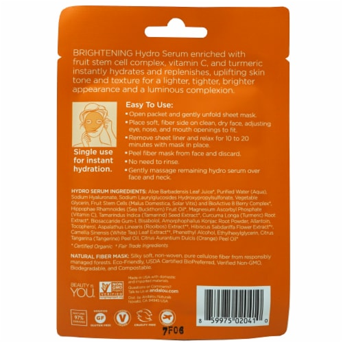 Andalou Naturals Instant Brighten & Tighten Hydro Serum Facial Mask Perspective: back