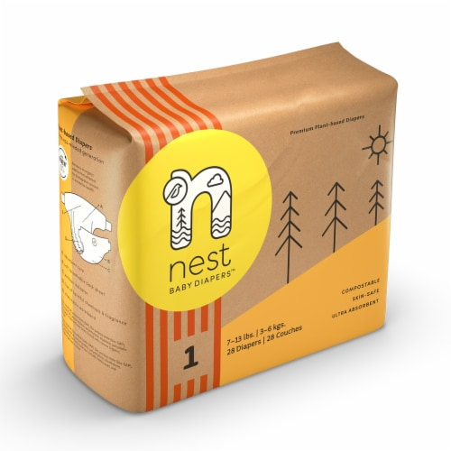 Sustainable Plant-Based Diapers  Nest Baby Diapers Size 1, 112 diapers Perspective: back