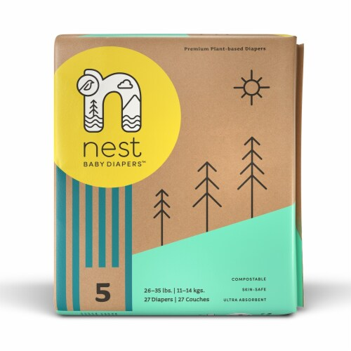 Sustainable Plant-Based Diapers  Nest Baby Diapers Size 5, 108 diapers Perspective: back