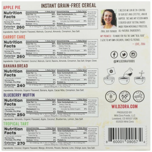 Wild Zora Instant Grain-Free Hot Cereal Variety Pack Perspective: back