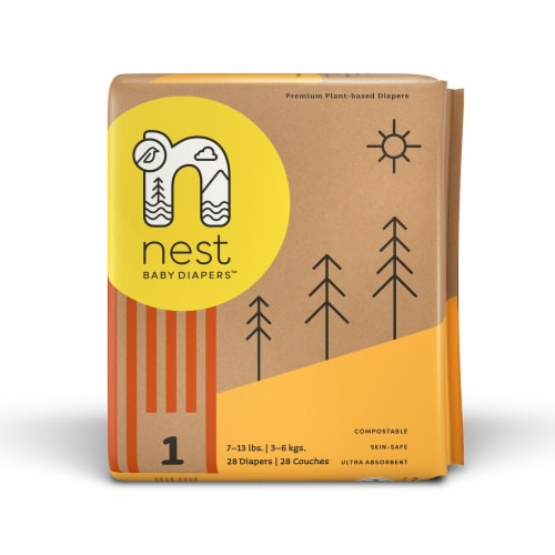 Sustainable Plant-Based Diapers  Nest Baby Diapers Size 1, 56 diapers Perspective: back