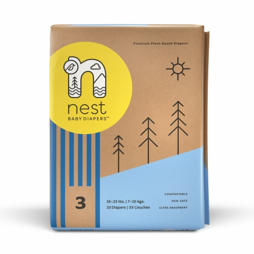 Sustainable Plant-Based Diapers  Nest Baby Diapers Size 3, 66 diapers Perspective: back