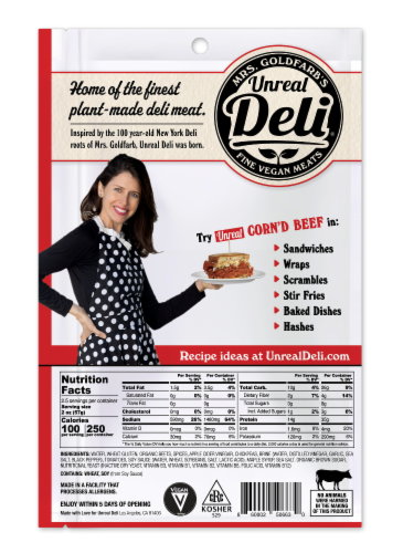 Unreal Plant-Based Corn'd Beef Deli Slices Perspective: back