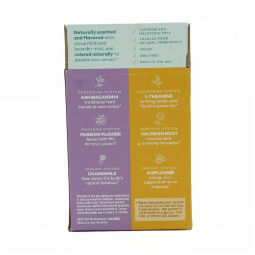 R3SET Calm & Unwind Day & Night Natural Stress Support Supplement Capsules Perspective: back