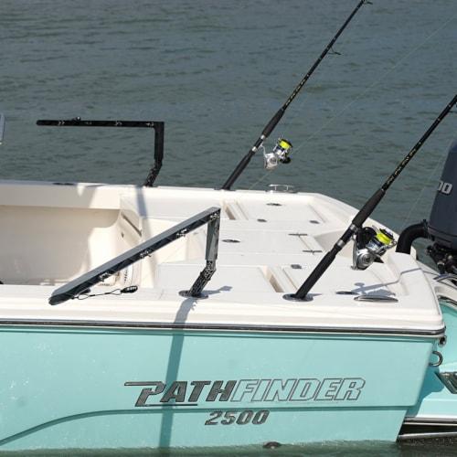 Rockport Rigger Boat Mounted Fishing Rod Holder Outrigger Set, Black (2 Pack) Perspective: back