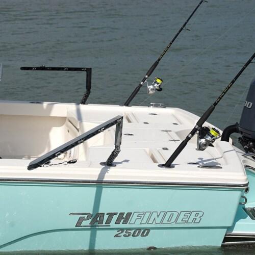 Rockport Rigger Boat Mounted Fishing Rod Holder Outrigger Set, Silver (2 Pack) Perspective: back