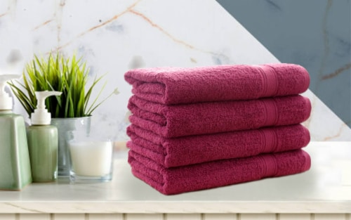 4 PIECE LUXURY LARGE SIZE BATH TOWEL SET FOR HOME HOTEL SPAS GUEST by Hurbane Home, Purple Perspective: back