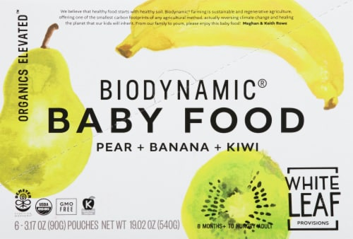White Leaf Biodynamic Pear Banana Kiwi Baby Food Pouches Perspective: back