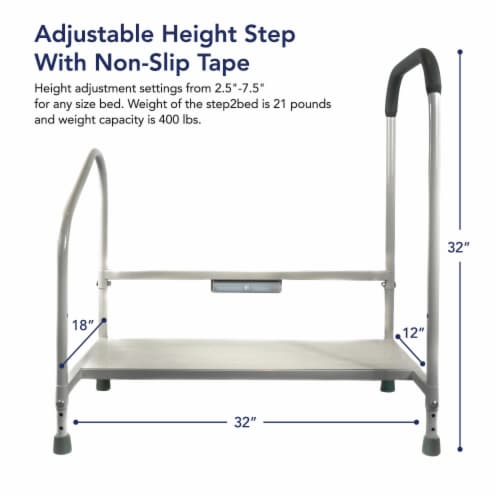 Step2bed Bed Rails for Elderly w/ Adjustable Height Bed Step Stool Perspective: back