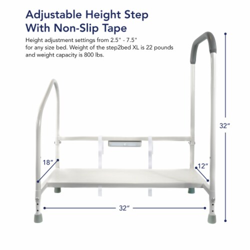 Step2bed XL Bed Rails for Elderly w/ Adjustable Height Bed Step Stool Perspective: back