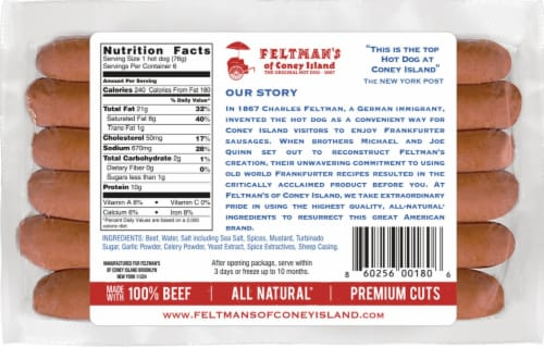 Feltman's of Coney Island Beef Natural Casing  (Approximate Delivery is 2-6 Days) Perspective: back