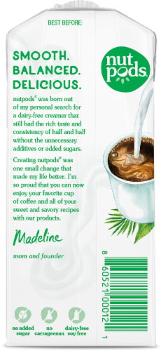 Nutpods Unsweetened Dairy-Free Hazelnut Flavored Almond & Coconut Creamer Perspective: back