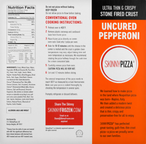 SkinnyPizza Uncured Pepperoni Ultra Thin & Crispy Pizza Perspective: back