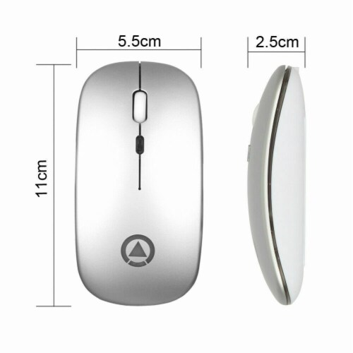 """""""2.4GHz Wireless Optical Mouse USB Rechargeable RGB Cordless Mice For PC Laptop (silver) """" Perspective: back"""