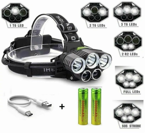 250000LM 5X T6 LED Headlamp Rechargeable Head Light Flashlight Torch Lamp Perspective: back