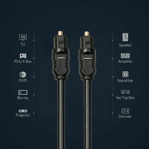Gold TOSLink Fiber Optical Optic Digital Audio Cable SPDIF Sound Bar Cord (30 ft) (1.5 FT) Perspective: back