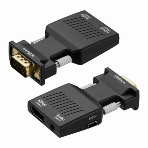 VGA To HDMI Adapter Full HD 1080P Audio Video Converter Laptop PC To TV HDTV AV Perspective: back