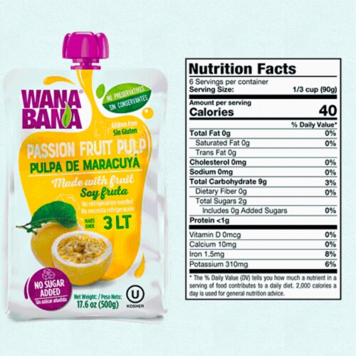 Wanabana 100 Percent Real and Natural Fruit Pulp for Juice Making, Passion Fruit, 17.64 Ounce Perspective: back