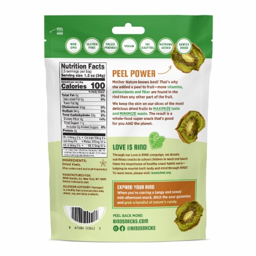 RIND Snacks Tangy Kiwi Dried Fruit Superfood - 3oz Bags, 6 Bags Total Perspective: back